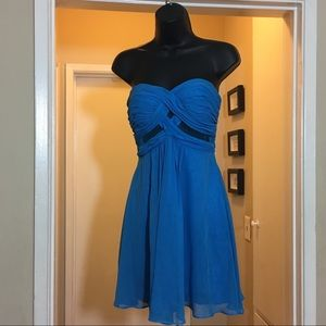 Blue strapless cocktail dress with mesh panel